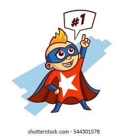 Superhero White Star Boy Sticker Vector Illustration