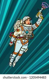 Superhero woman astronaut paratrooper with Blaster, science fiction. Pop art retro vector illustration vintage kitsch