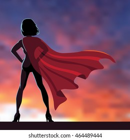 Superhero woman cartoon heroically overlooking the sunrise or sunset. EPS 10 vector.