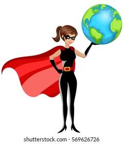 Superhero woman holding earth isolated