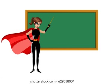 superhero woman holding stick teaching at blackboard isolated