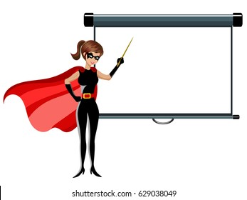 superhero woman holding stick teaching blank projector screen isolated