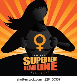 Superhero woman revealing symbol burst background Eps 10 vector illustration