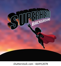 Superhero woman silhouette sunrise or sunset background with copy space. EPS 10 vector.
