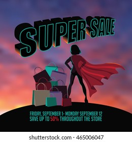 Superhero woman silhouette sunrise or sunset super sale background with copy space. EPS 10 vector.