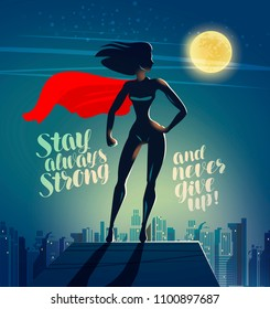 Superhero woman standing on the roof of a skyscraper. Comics cartoon vector illustration