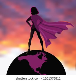Superhero woman standing on top of the world. EPS10 vector illustration.