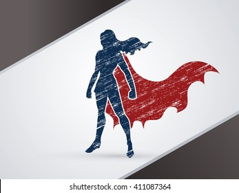 Superhero Woman standing using grunge brush graphic vector.