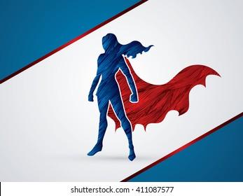 Superhero Woman standing using grunge brush graphic vector.