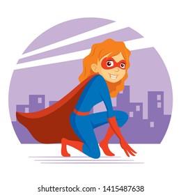 Superhero Woman Supermom Cartoon character Vector illustration T-shirt design