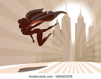 Superhero woman or superwoman flies low over the earth on the city background