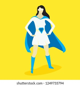 Superhero woman, vector illustration, fiction character design