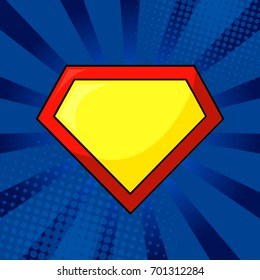 Superhero yellow and red logo template on bright blue, pop art background. Isolated, eps10.