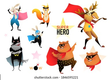 Superhero zoo animals party collection, bear, moose, bunny, rabbit, wolf. Brave and silly animal characters party performance wearing mask and cape, vector cartoon for kids.