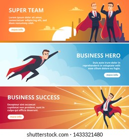 Superheroes business banners. Male characters business concept vector illustrations. Succes super leadership in red cloak, businessman in cape