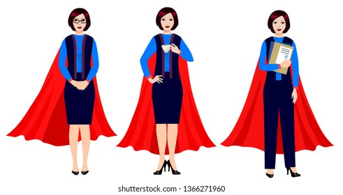 Superheroes business people vector: businesswomen are hero.  Female office worker in the cape of a superhero.
