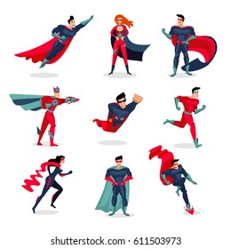 Superheroes characters set with people wearing colorful costumes in different poses and actions isolated vector illustration