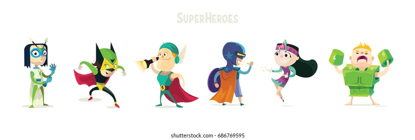 Superheroes.Set of superhero kids. Children in bright colored suits of different superheroes. Vivid characters for advertising.Clothing heroes.Vector