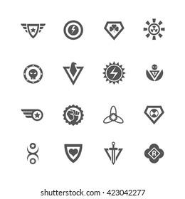 Superheroes vector badges. Protect and power superhero logo templates