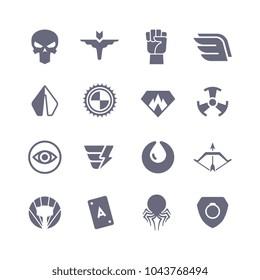 Superheroes vector icons. Super power superhero heroic symbols. Super heroic symbol collection illustration