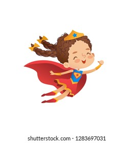 Superheroine Cute Girl Costume Vector Illustration. Little Kid wear Funny Cloak and Crown. Isolated Comic Character Symbol for Kindergarten Party. Cheerful Defender Wear Red Cape.