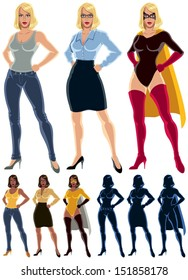 Superheroine Transformation: Ordinary woman transforms into superheroine. No transparency or gradients used.