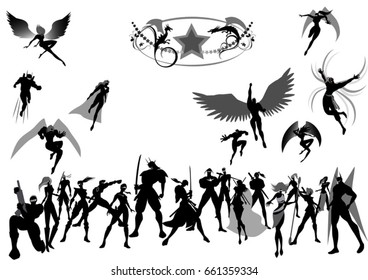 superheros silhouettes