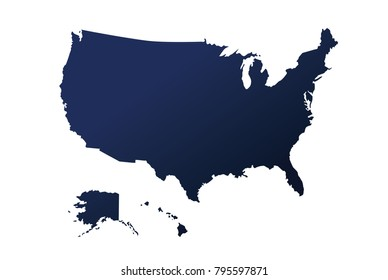 SUPERHigh Detail of US Map Blue Vector