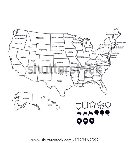SUPER High Detail US Map Outline Vector Stock Vector (Royalty Free ...