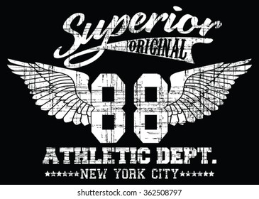 Superior Athletic Dept. Nyc Varsity Sport vector print and varsity. For t-shirt or other uses in vector.T shirt graphic
