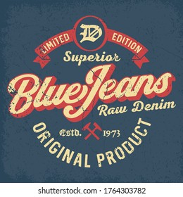 Superior Blue Jeans - Tee Design For Printing
