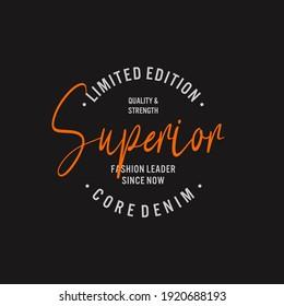 superior denim t-shirt design, print, vector illustration.