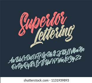 Superior lettering alphabet. Vector font
