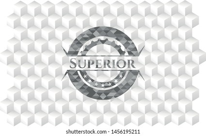 Superior realistic grey emblem with cube white background