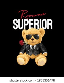 superior slogan with bear doll in tuxedo on black background