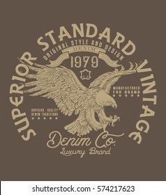 SUPERIOR STANDARD VINTAGE.DENIM COMPANY.VECTOR .Heritage vector design