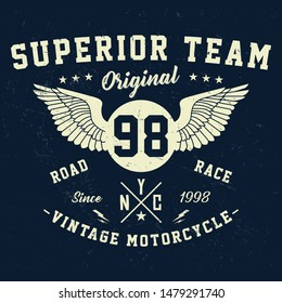 Superior team, vintage motorcycle typography, t-shirt graphics, vectors