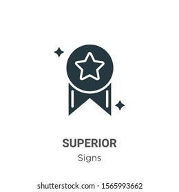 Superior vector icon on white background. Flat vector superior icon symbol sign from modern signs collection for mobile concept and web apps design.