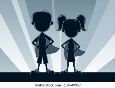 Superkids Silhouettes: Boy and girl superheroes, posing in front of light. No transparency used. Basic (linear) gradients used for the background. A4 proportions.
