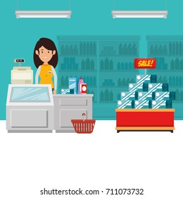 supermaket store counter desk with woman cashier in uniform