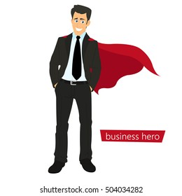 Superman business. a man in a business suit with a red cape as the concept of a super businessman. vector illustration.