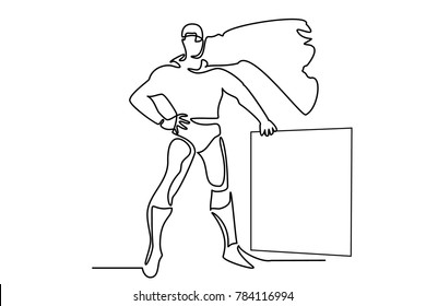 Superman drawn by a line. Develops a raincoat. Near the square for the inscription.