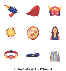 Superman, explosion, fire, and other web icon in cartoon style.Pistol, weapons, innovations, icons in set collection.