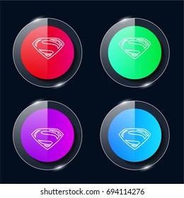 Superman four color glass button ui ux icon. Glossy app icon logo vector