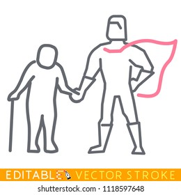 Superman hero cares about senior. Gerontology concept. Editable stroke sketch icon. Stock vector illustration.