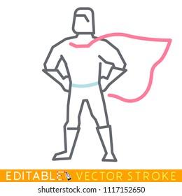 Superman hero icon. Editable stroke sketch icon. Stock vector illustration.
