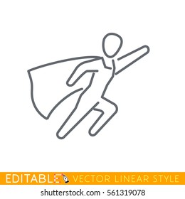 Superman icon. Super woman. Editable line drawing. Stock vector illustration.