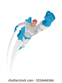 Superman poster. Superhero flying up. Isolated. Vector illustration
