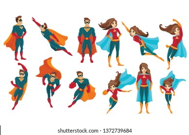 superman and supermwoman on white background. Flat cartoon vector illustration