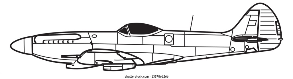 Supermarine SPITFIRE. Outline vector drawing